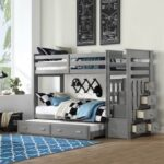 New ACME Allentown Twin-Over-Twin Size Bunk Bed Frame with Trundle Bed, Storage Drawers, and Wooden Slats Support, No Spring Box Required (Frame Only) – Gray
