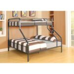 New ACME Caius Twin-Over-Queen Size Bunk Bed Frame with Ladder, and Metal Slats Support, No Spring Box Required (Frame Only) – Bronze