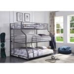 New ACME Caius Twin-Over-Full-Over-Queen Size Triple Bed Frame with Ladder, and Metal Slats Support, No Spring Box Required (Frame Only) – Gunmetal