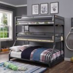 New ACME Cargo Twin-Over-Twin-Over-Full Size Triple Bed Frame with Ladder, and Metal Slats Support, No Spring Box Required (Frame Only) – Gunmetal