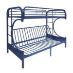 New ACME Eclipse Twin-Over-Full Size Bunk Bed Frame with Ladder, and Metal Slats Support, No Spring Box Required (Frame Only) – Navy