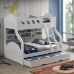 New ACME Grover Twin-Over-Full Size Bunk Bed Frame with Storage Shelves, and Wooden Slats Support, No Spring Box Required (Frame Only) – White
