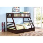 New ACME Jason Twin-Over-Queen Size Bunk Bed Frame with Ladder, and Wooden Slats Support, No Spring Box Required (Frame Only) – Espresso