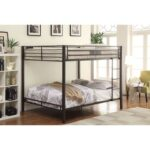 New ACME Kaleb Queen-Over-Queen Size Bunk Bed Frame with Ladder, and Metal Slats Support, No Spring Box Required (Frame Only) – Black