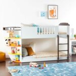 New ACME Neptune Twin-Over-Twin Size Bunk Bed Frame with Storage Shelves, and Metal Slats Support, No Spring Box Required (Frame Only) – White