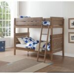 New ACME Ranta Twin-Over-Twin Size Bunk Bed Frame with Ladder, and Wooden Slats Support, No Spring Box Required (Frame Only) – Oak