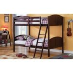 New ACME Toshi Twin-Over-Twin Size Bunk Bed Frame with Ladder, and Wooden Slats Support, No Spring Box Required (Frame Only) – Espresso