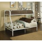 New ACME Tritan Twin-Over-Full Size Bunk Bed Frame with Ladder, and Metal Slats Support, No Spring Box Required (Frame Only) – White