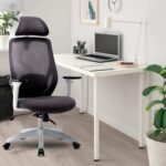 New Art Lift Mesh Rotatable Office Chair Height Adjustable with Ergonomic High Backrest and Headrest – White