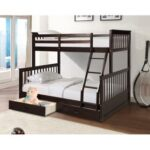 New Twin-Over-Full Size Bunk Bed Frame with Ladder, and Wooden Slats Support, No Spring Box Required (Frame Only) – Espresso