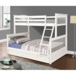 New Twin-Over-Full Size Bunk Bed Frame with Ladder, and Wooden Slats Support, No Spring Box Required (Frame Only) – White