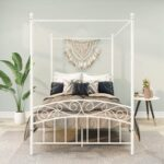 New Full-Size Canopy Metal Platform Bed Frame with 4 Pillars, Headboard and Metal Slats Support, No Box Spring Needed (Only Frame) – White