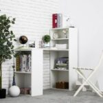 New Home Office Particle Board Computer Desk with Storage Shelves – White
