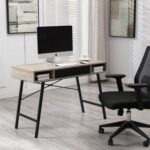 New Home Office 43″ Computer Desk with Drawers, Wooden Tabletop and Metal Frame, for Game Room, Office, Study Room – Walnut