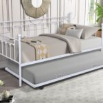 New Twin Size Daybed with Trundle Bed, and Metal Slats Support, Space-saving Design, No Box Spring Needed – Gray