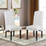 New Modern Style PU Leather Dining Chair Set of 2, with Solid Wood Legs, for Restaurant, Cafe, Tavern, Office, Living Room – White