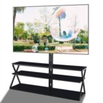 New 44″ Tempered Glass Swivel TV Stand, Height Adjustable Universal Media Storage Stand, for Living Room, Entertainment Center – Black