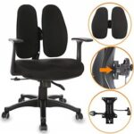 New Home Office Rotatable Chair Height Adjustable with Ergonomic Lumbar Support and Casters – Black