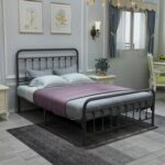 New Full-Size Metal Platform Bed Frame with Headboard and Steel Slats Support, No Box Spring Needed (Only Frame) – Black