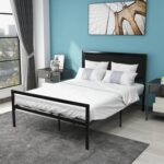 New Full-Size Metal Platform Bed Frame with Headboard and Metal Slats Support, No Box Spring Needed (Only Frame) – Black