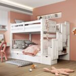 New Full-Over-Full Size Bunk Bed Frame with 6 Storage Drawers, Shelves, and Wooden Slats Support, No Spring Box Required (Frame Only) – White