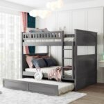 New Full-Over-Full Size Bunk Bed Frame with Trundle Bed, and Wooden Slats Support, No Spring Box Required (Frame Only) – Gray