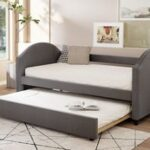 New Full-Size Fabric Upholstered Daybed with Twin-Size Trundle Bed, and Wooden Slats Support, Space-saving Design, No Box Spring Needed – Gray