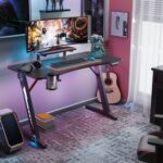 New Home Office 47″ Computer Desk with RGB Lights, Carbon Fiber Surface, Monitor Stand and Z-Shaped Legs, for Game Room, Office, Study Room – Black