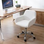 New HengMing Faux Fur Fabric Swivel Chair Height Adjustable with Curved Backrest and Casters for Living Room, Bedroom, Dining Room, Office – White