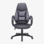 New Home Office Faux Leather Rotatable Chair Height Adjustable with Ergonomic High Backrest and Casters – Black