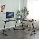 New Home Office 51″ L-Shaped Computer Desk with Wooden Tabletop and Metal Frame, for Game Room, Office, Study Room – Black