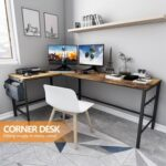 New Home Office L-Shaped Computer Desk with Storage Bag, Wooden Tabletop and Metal Frame, for Game Room, Office, Study Room – Brown