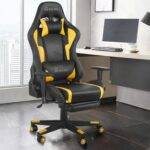New Home Office PU Leather Rotatable Massage Gaming Chair Height Adjustable with Ergonomic High Backrest and Casters – Yellow