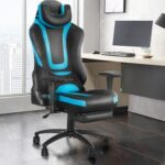 New Home Office PU Leather Rotatable Massage Gaming Chair Height Adjustable with Ergonomic High Backrest and Casters – Blue