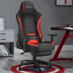 New Home Office PU Leather Rotatable Massage Gaming Chair Height Adjustable with Ergonomic High Backrest and Footrest – Red