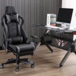 New Home Office PU Leather Massage Video Gaming Chair Height Adjustable with Footrest, Headrest, Ergonomic High Backrest and Casters – Gray