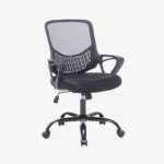 New Home Office Rotatable Mesh Chair Height Adjustable with Ergonomic Mid Backrest and Armrest – Black