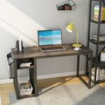 New Home Office Computer Desk with Side Bag, Storage Shelves, MDF Tabletop and Metal Frame – Brown