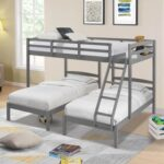 New Full-Over-Twin Size Bunk Bed Frame with Storage Drawer, Ladder, and Wooden Slats Support, No Spring Box Required (Frame Only) – Gray