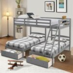 New Full -Over-Twin Size Bunk Bed Frame with Storage Drawers, Ladder, and Wooden Slats Support, No Spring Box Required (Frame Only) – Gray