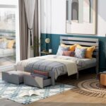 New Full Size Wooden Platform Bed Frame with 2 Storage Drawers – Gray