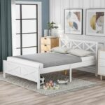 New Full Size Wooden Platform Bed Frame with High Legs and Wooden Slats – White