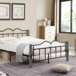 New Full-Size Metal Platform Bed Frame with Wooden Feet, and Steel Slats Support, No Box Spring Needed (Only Frame) – Gray