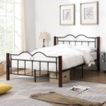 New Full-Size Metal Platform Bed Frame with Wooden Feet, and Steel Slats Support, No Box Spring Needed (Only Frame) – Brown