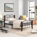 New Twin-Size Metal Platform Bed Frame with Wooden Feet, and Steel Slats Support, No Box Spring Needed (Only Frame) – Brown