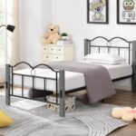 New Twin-Size Metal Platform Bed Frame with Wooden Feet, and Steel Slats Support, No Box Spring Needed (Only Frame) – Gray