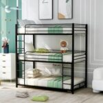 New Twin-Size Triple Bed Frame with Ladder, and Metal Slats Support, No Spring Box Required (Frame Only) – Black
