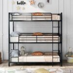 New Twin-Size Triple Bed Frame with Ladder, and Metal Slats Support, No Spring Box Required (Frame Only) – Brown