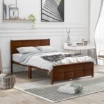New Full-Size Platform Bed Frame with Rectangular Line Shape Headboard and Wooden Slats Support, No Box Spring Needed (Only Frame) – Walnut