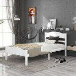 New Twin-Size Platform Bed Frame with Horizontal Strip Hollow Shape Headboard, and Wooden Slats Support, No Box Spring Needed (Only Frame) – White
